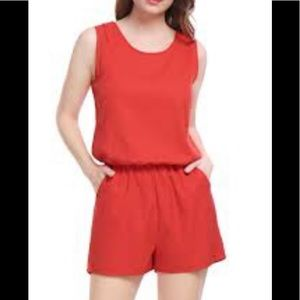 Allegra K red open back romper with pockets size M